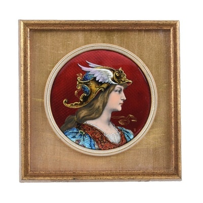 French Limoges Foil Enamel Valkyrie Portrait by Theophile Soyer