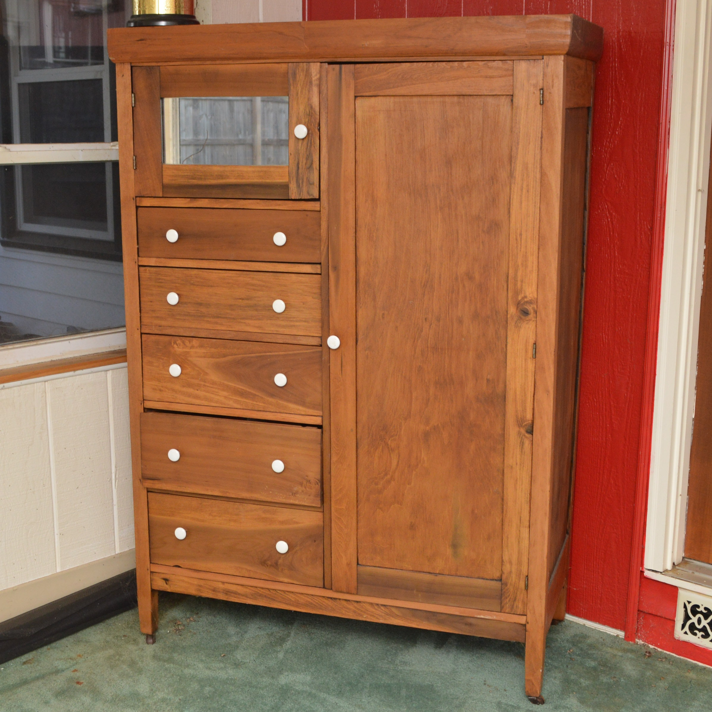 Vintage Pine Wardrobe with Mirror and Drawers