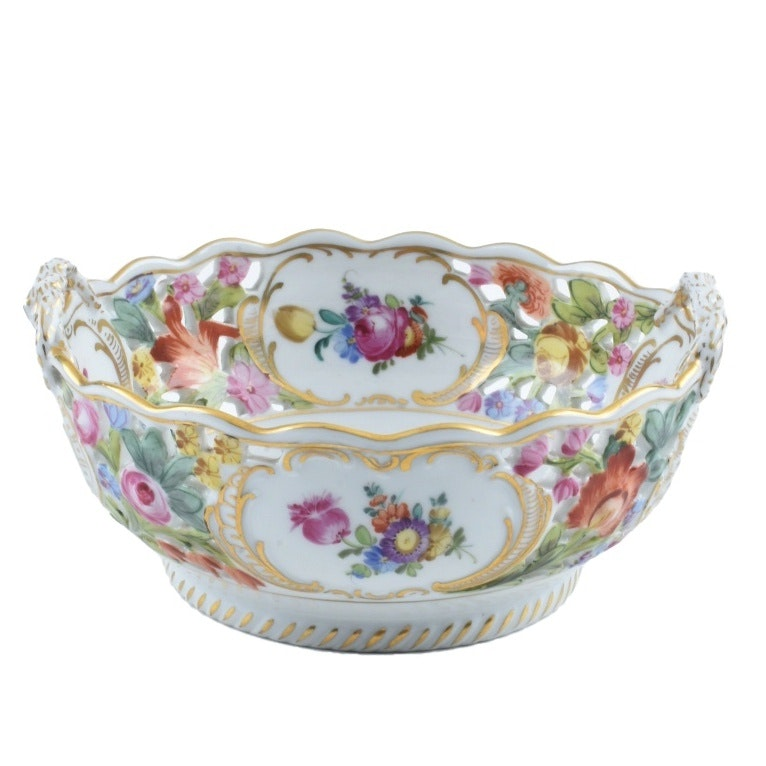 Early 20th Century Dresden Hand Painted Floral Bowl