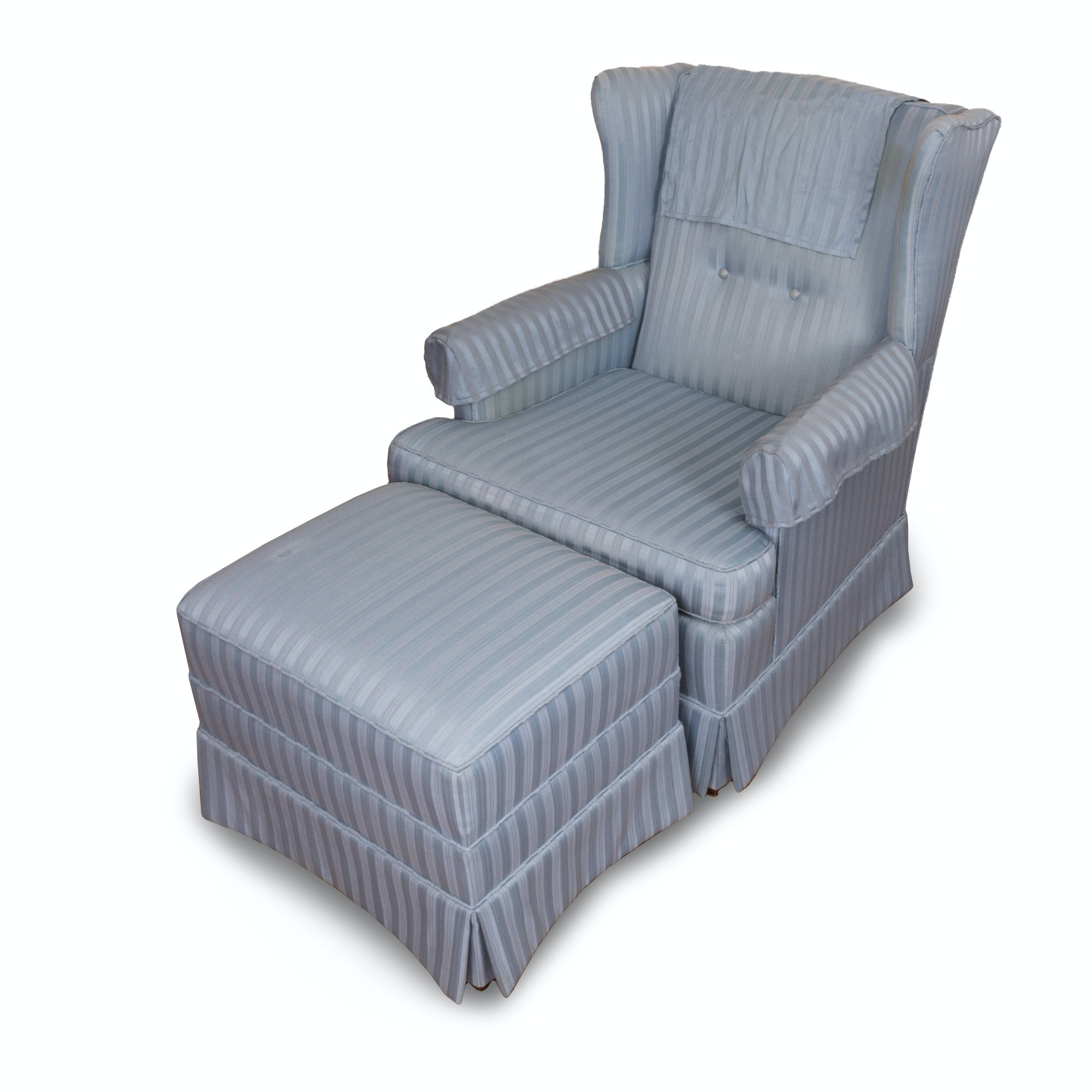 Upholstered Wingback Chair and Ottoman