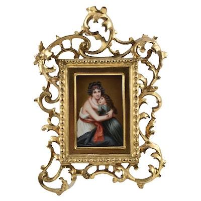 19th Cent. Porcelain Framed Plaque After Élisabeth Vigée Le Brun