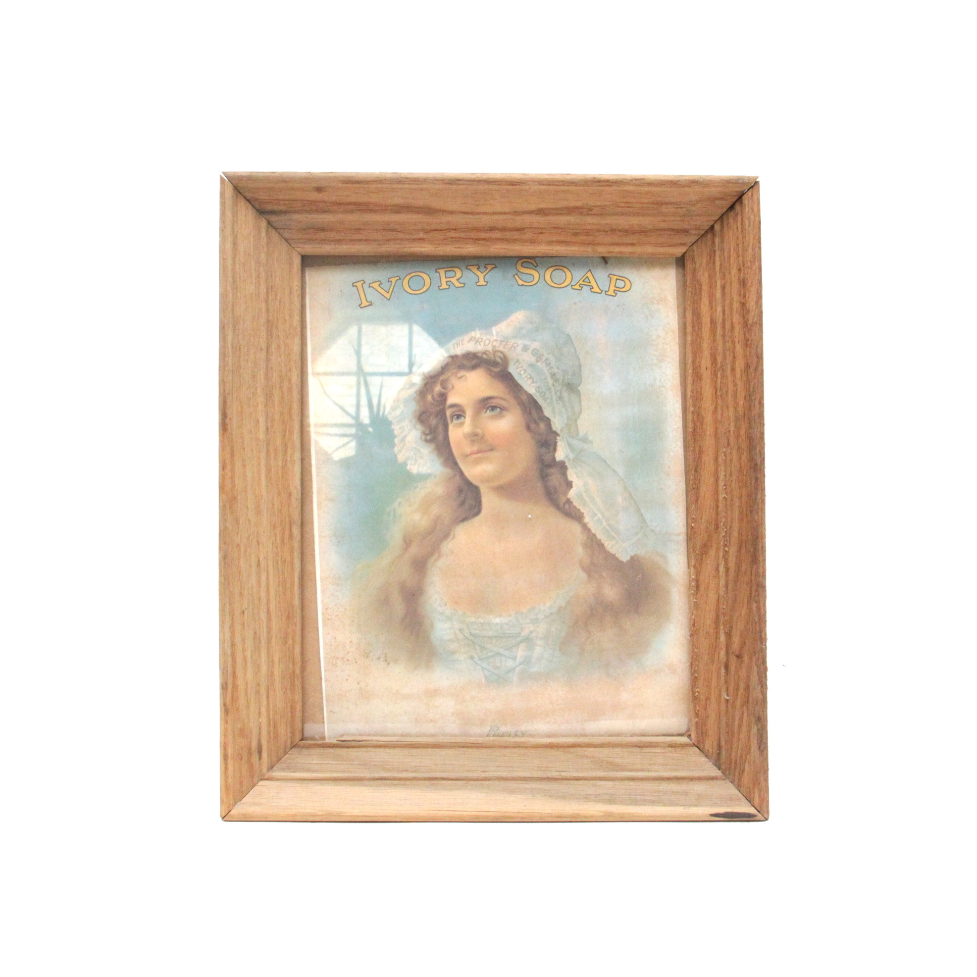 """Framed Ivory Soap """"Purity"""" Offset Lithograph Advertisement Print"""