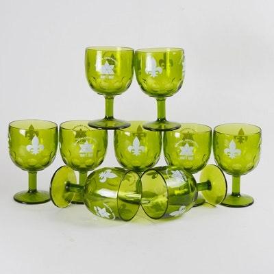 Vintage Canada Centennial Green Glass Goblets