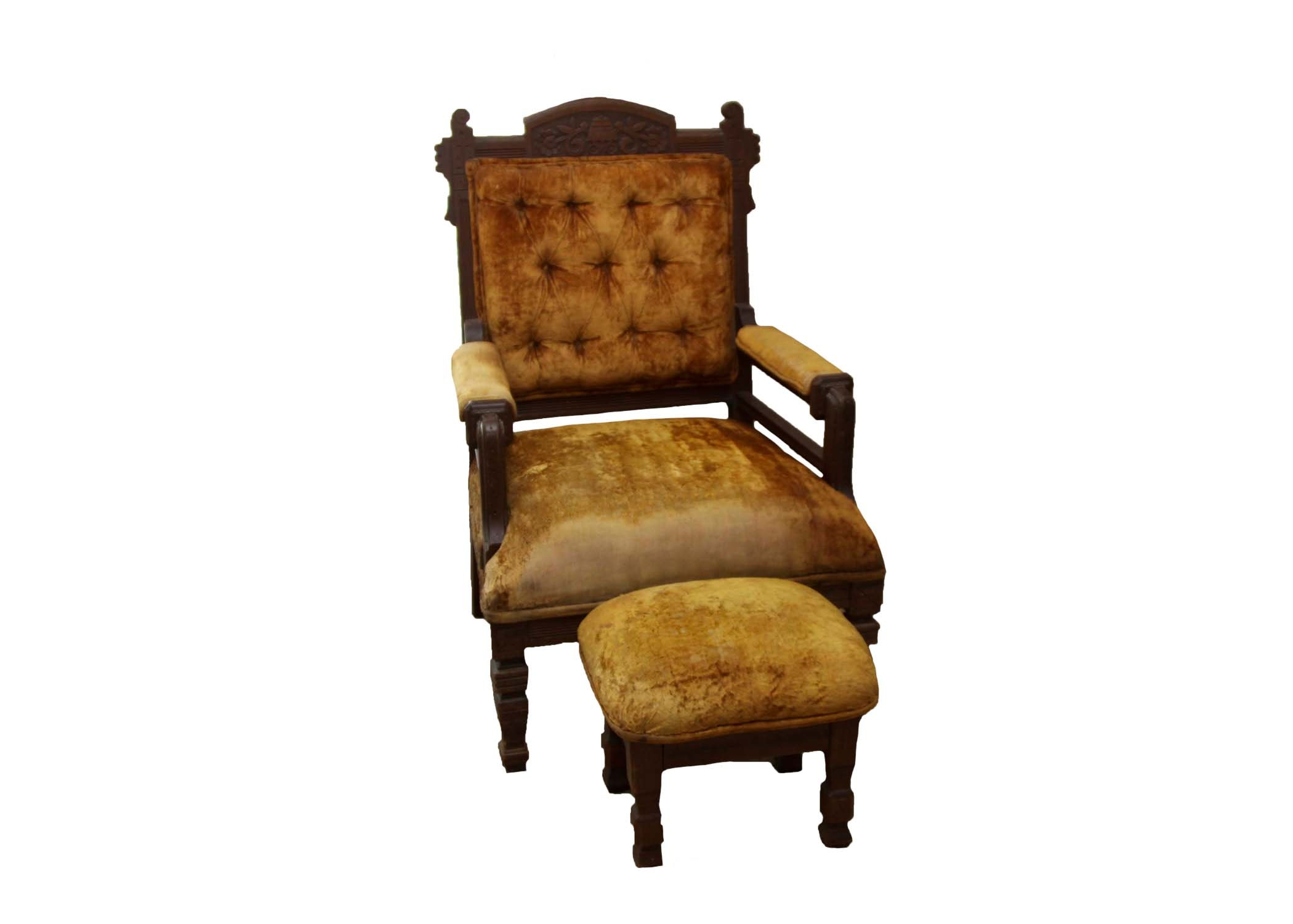Eastlake Style Chair and Foot Rest