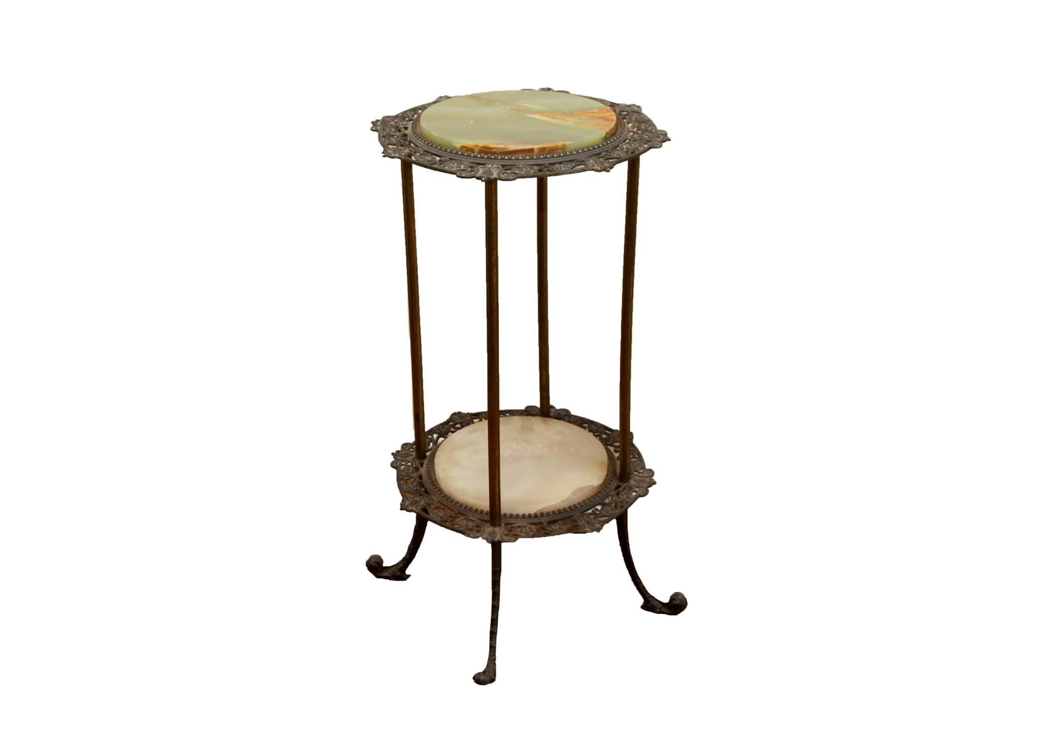 Antique Metal and Marble Tiered Side Table