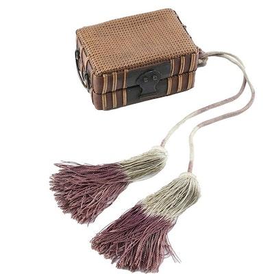 Japanese Woven Bamboo Trinket Box With Tassel