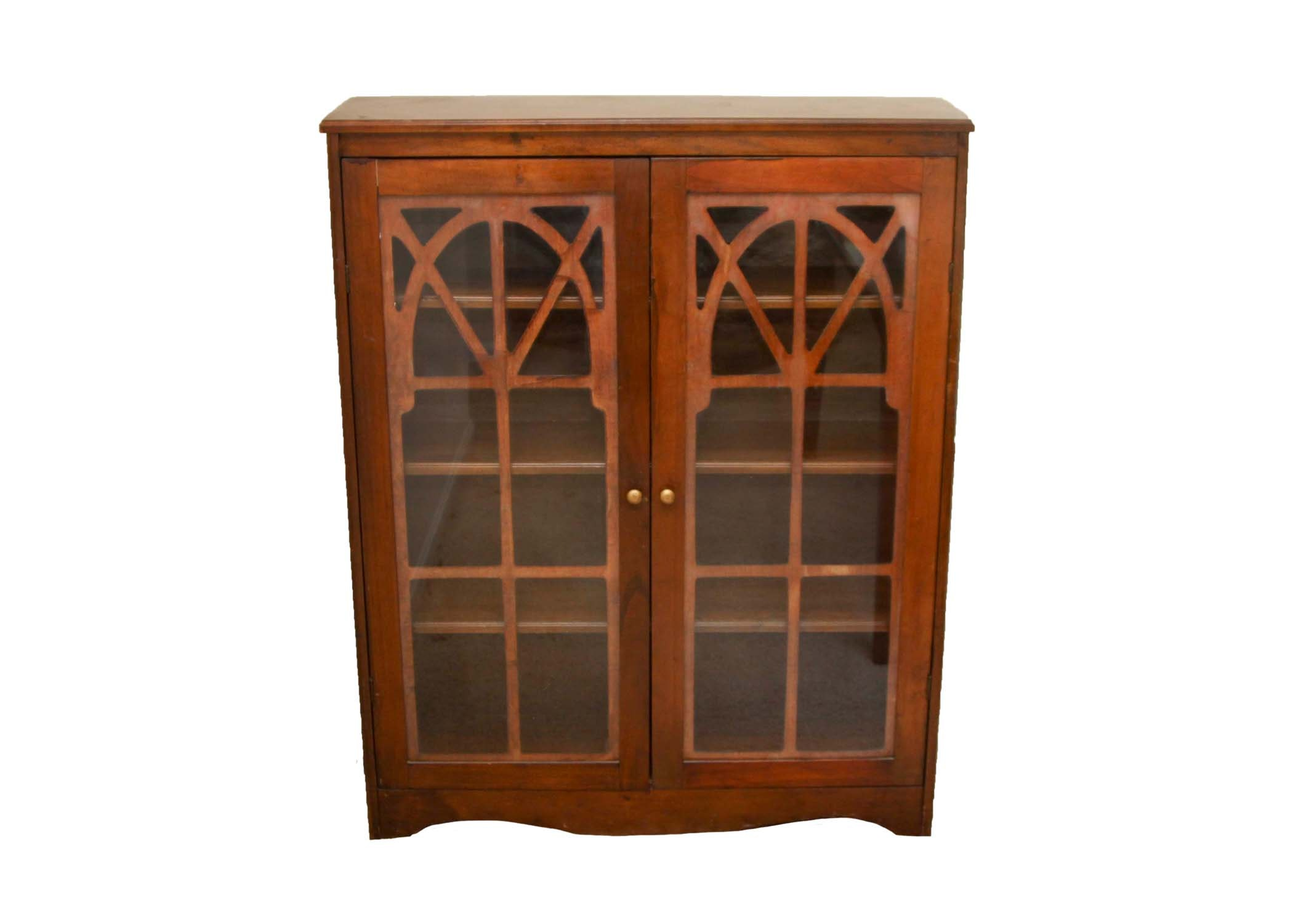 Vintage Mahogany Bookcase with Glass Doors
