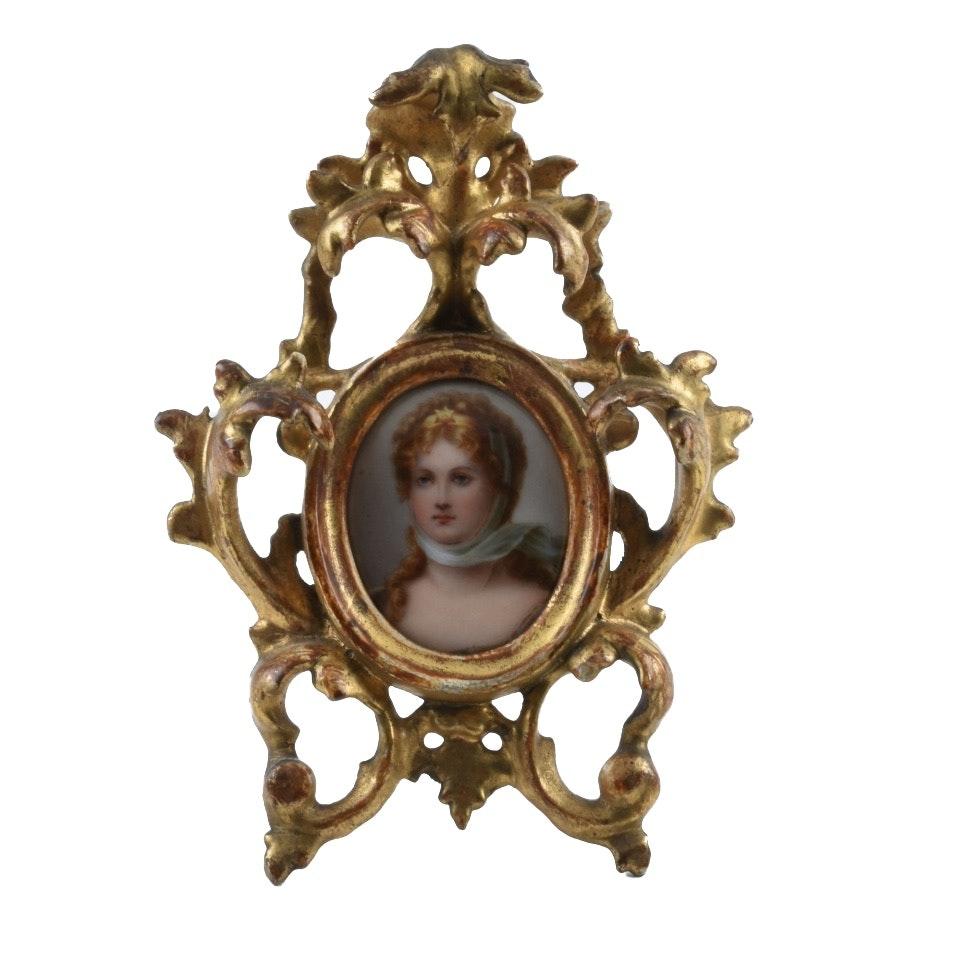 Antique German Miniature Porcelain Portrait of Queen Louise