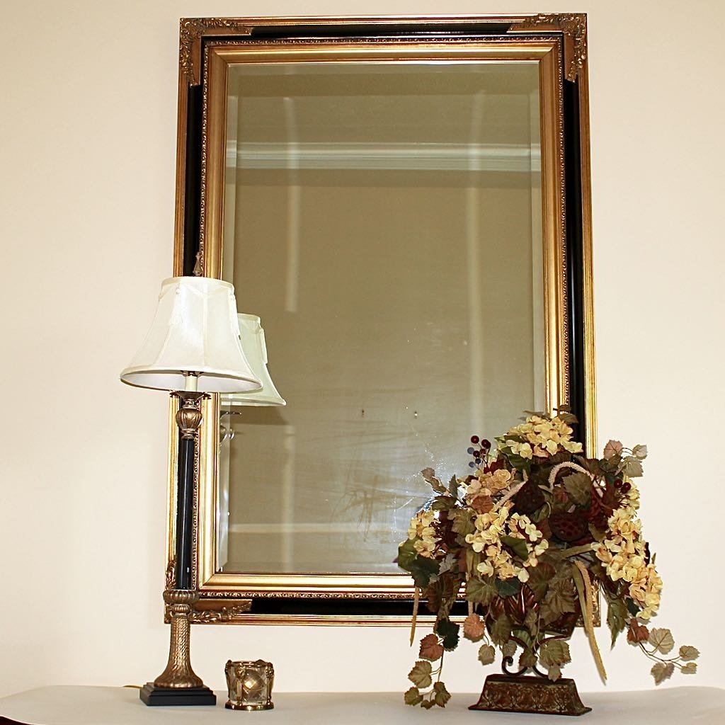 Beveled Wall Mirror with Decor Accents