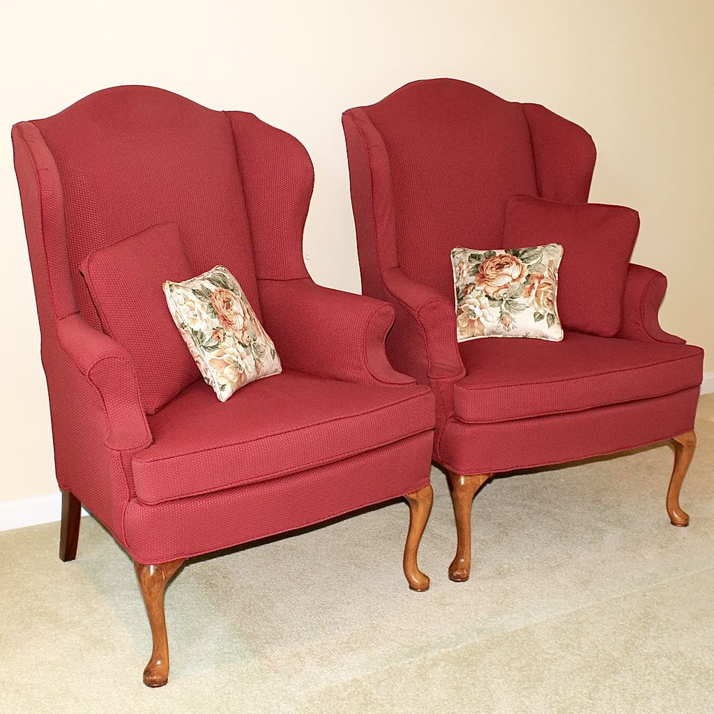 Two Slipcovered Wingback Chairs by Sherrill