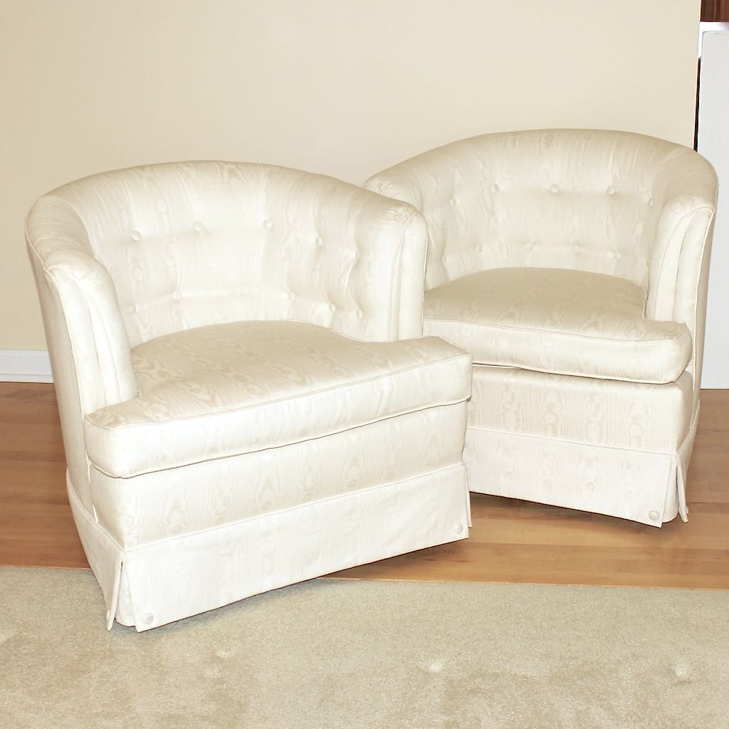 Two Barrel Back Accent Chairs