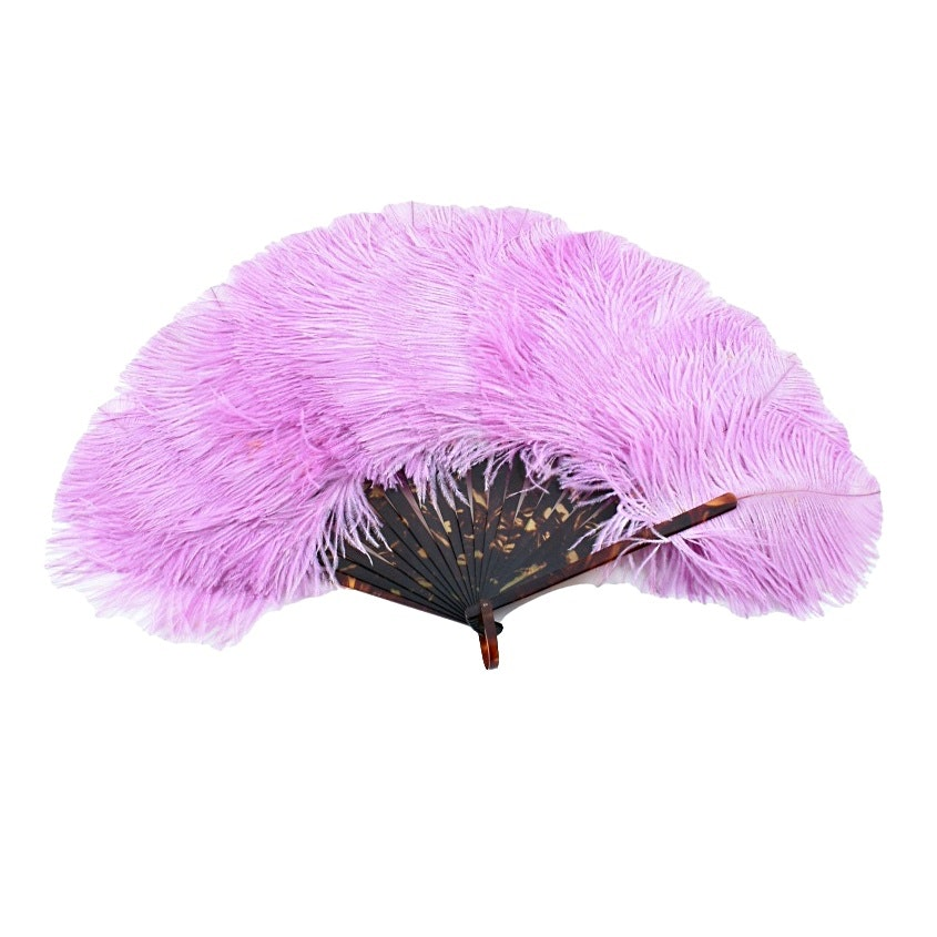 Early 20th c. Pink Ostrich Feather Fan with Celluloid  Sticks