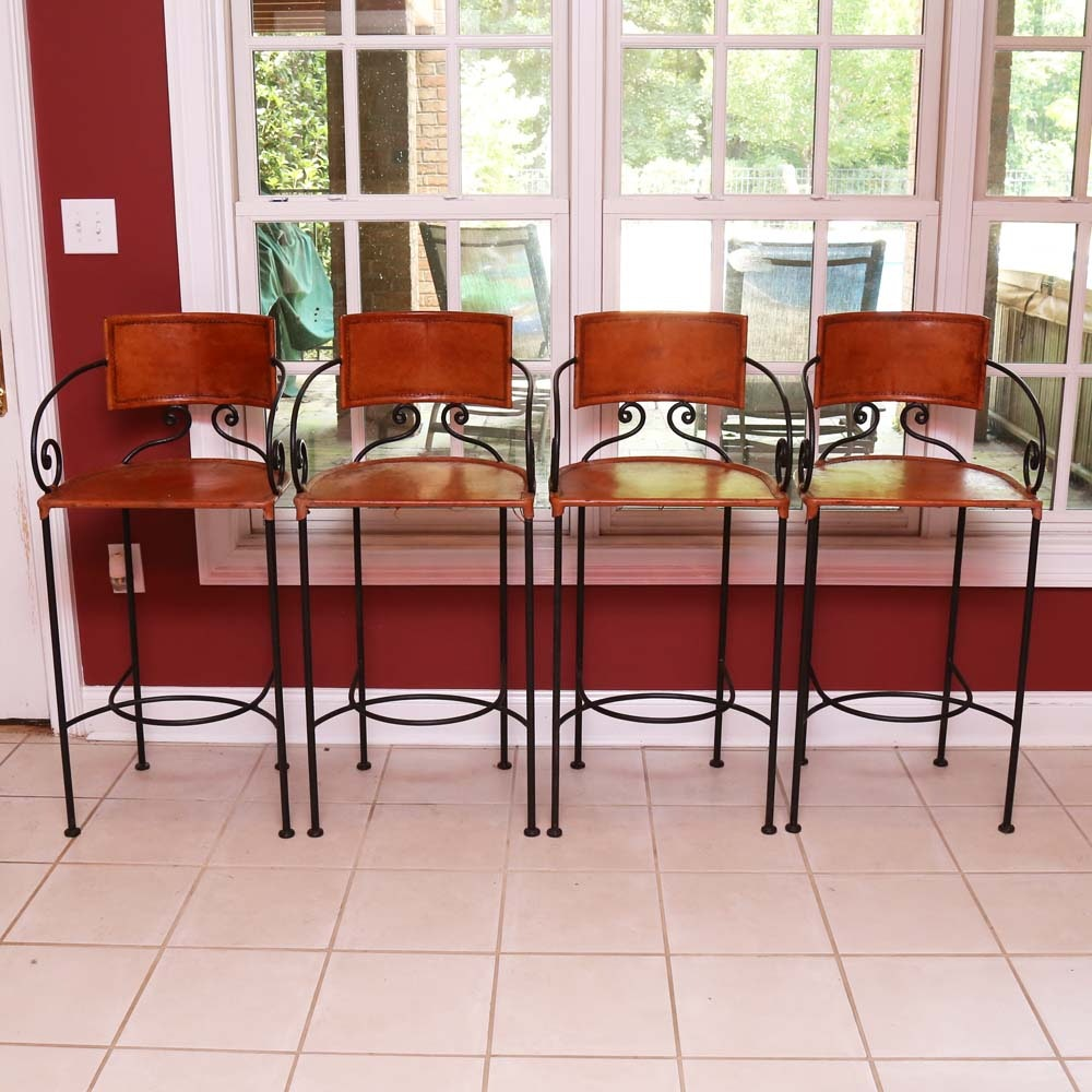 Leather and Wrought Iron Bar Stools