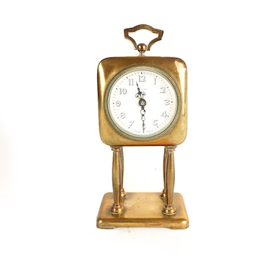Small Vintage Brass Velia Clock