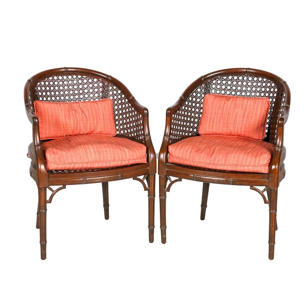 Vintage Regency Style Faux-Bamboo Bergères