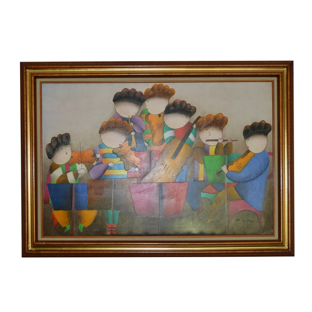 Signed Acrylic Painting on Canvas of a Whimsical Orchestra