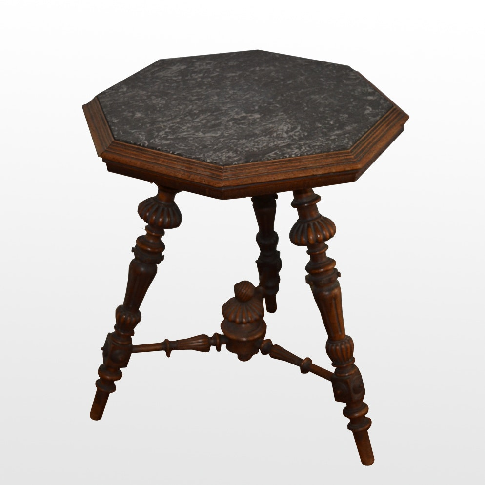 Antique Octagonal Marble Top End Table