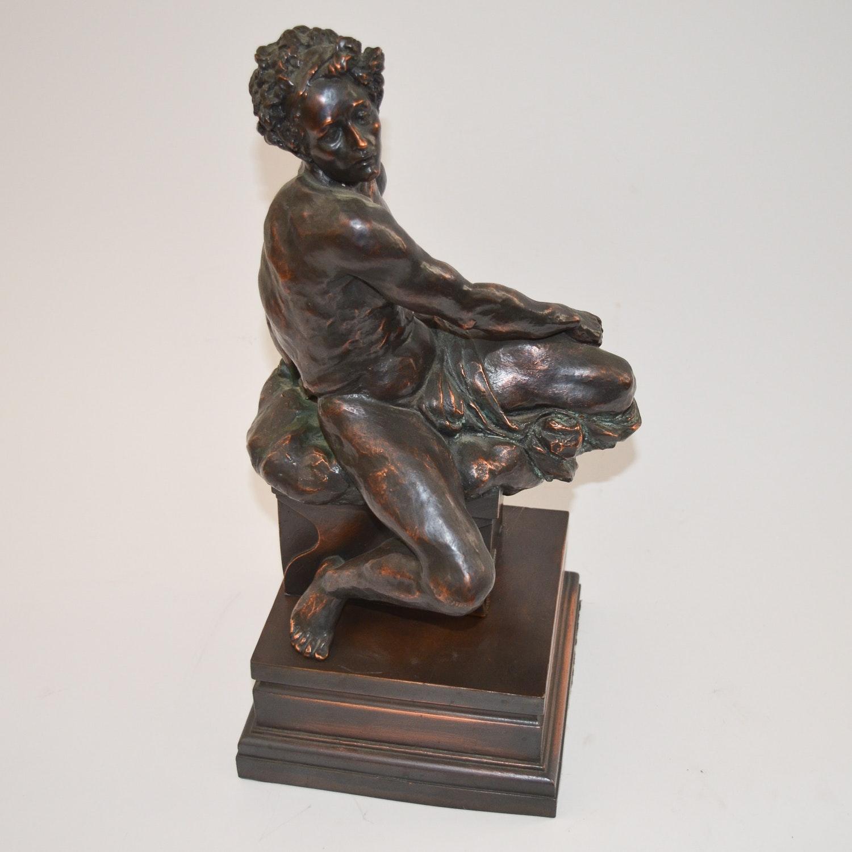 Bronze Tone Metal Statue of a Twisting Man