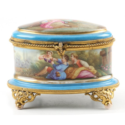 19th Century Hand Painted Sevres Style Porcelain Sewing Box