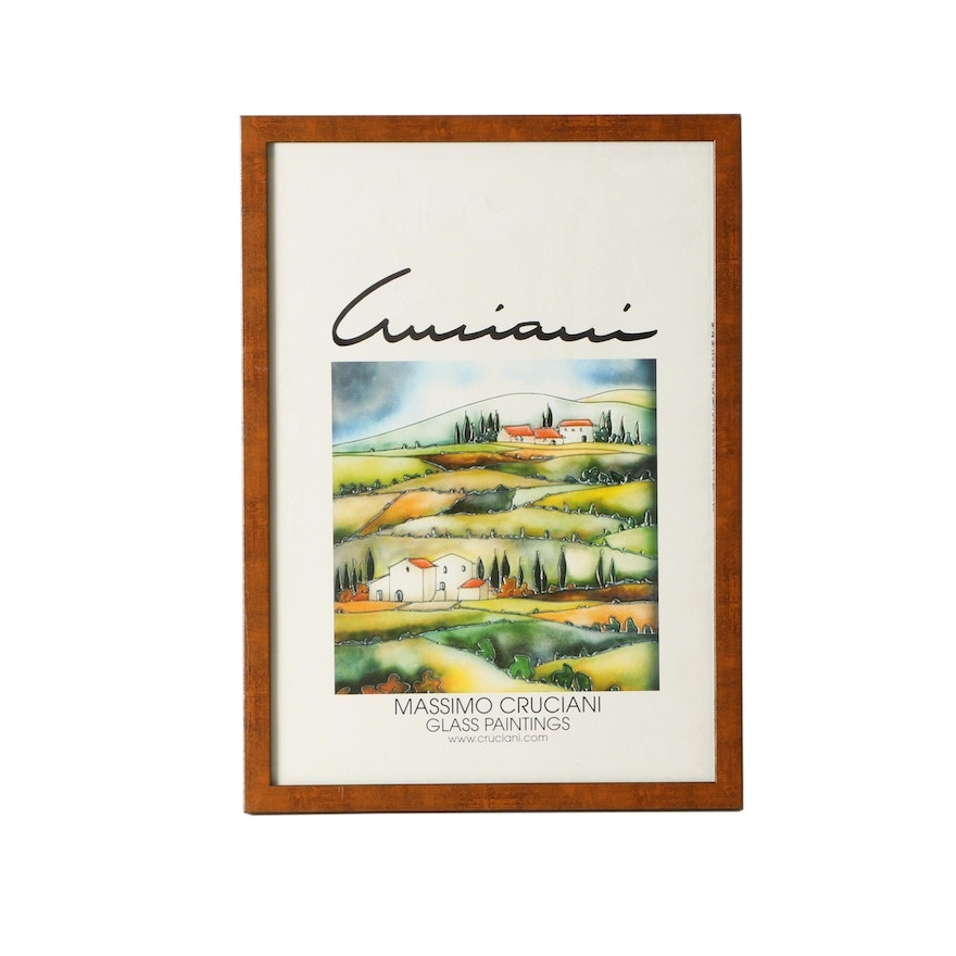reputable site fc5a5 8568e Offset Lithograph Poster for Massimo Cruciani Glass Paintings