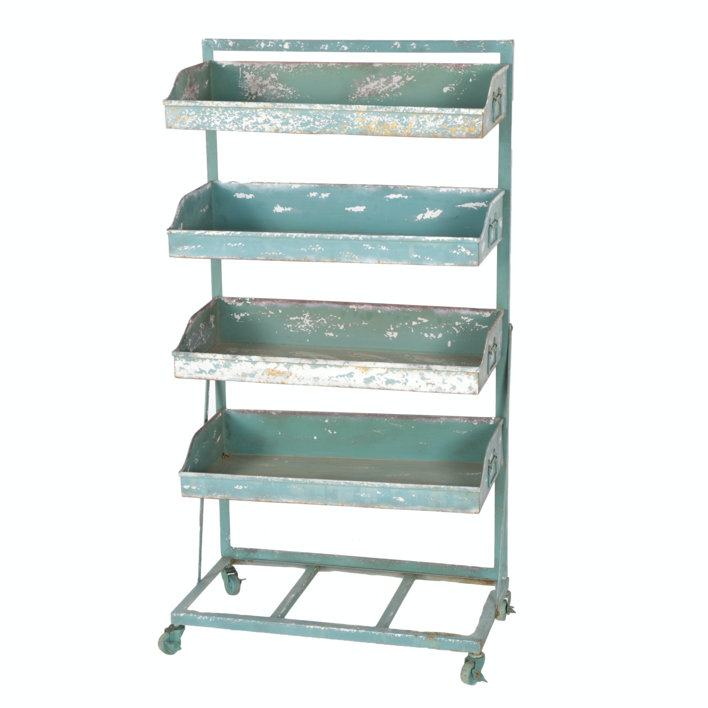 Industrial Cart with Shelves in Green Paint