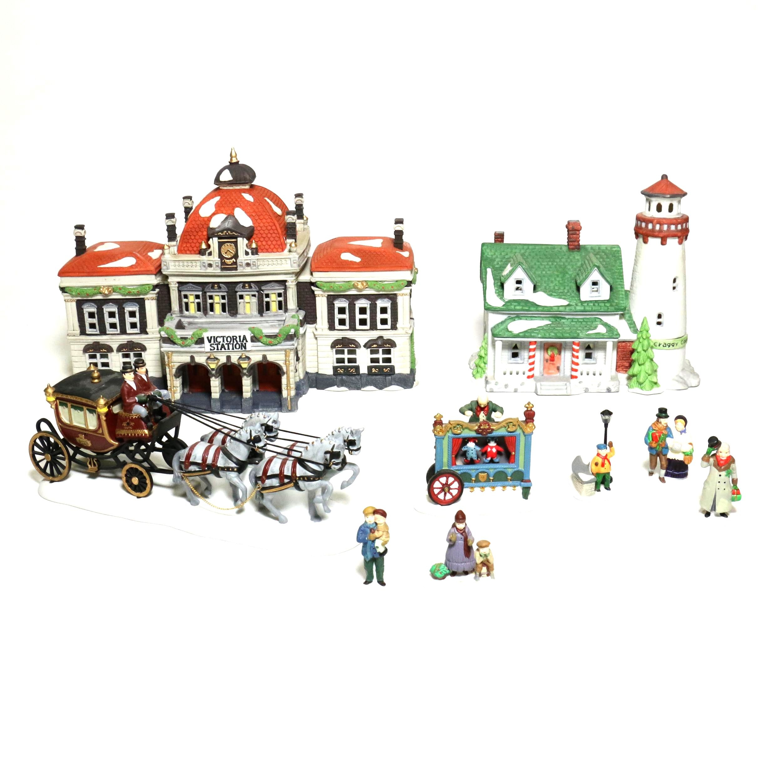 "Porcelain ""Dickens' Village Collection"" Christmas Display Pieces by Department 56"