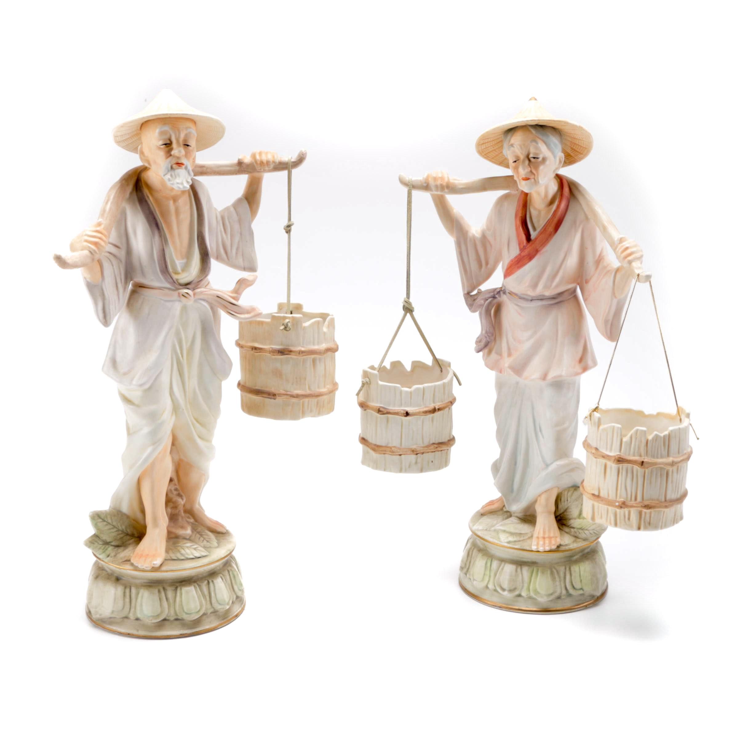 Japanese Water Carrier Ceramic Figurines
