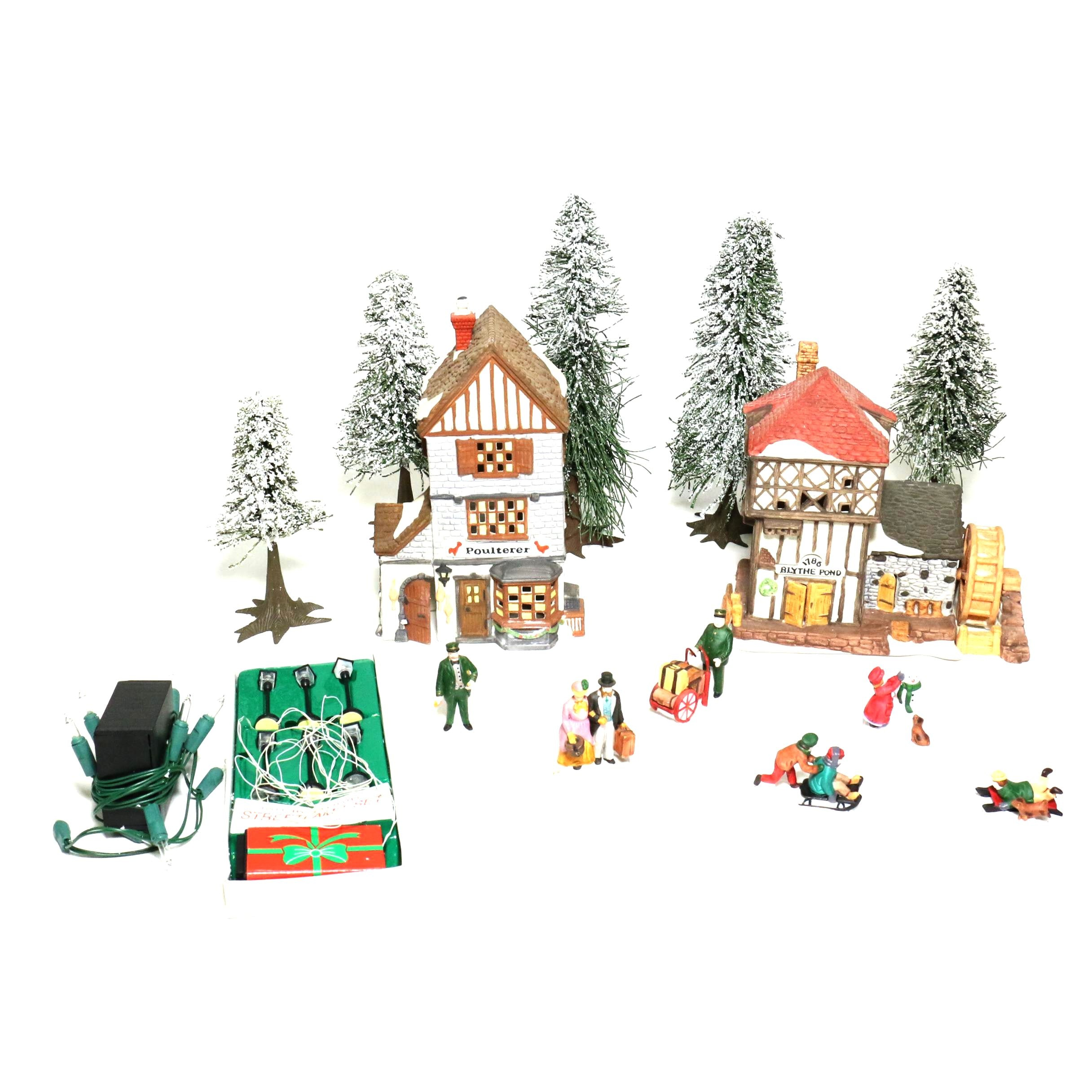 """Porcelain Department 56 """"Dickens' Village Series"""" Christmas Village Pieces"""