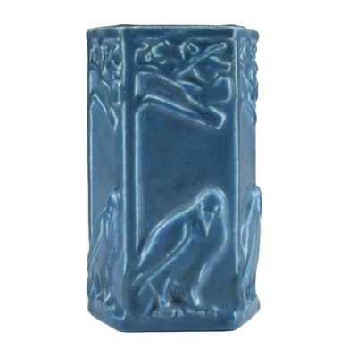 Circa 1926 Rookwood Five Sided Raven Vase in Blue Glaze