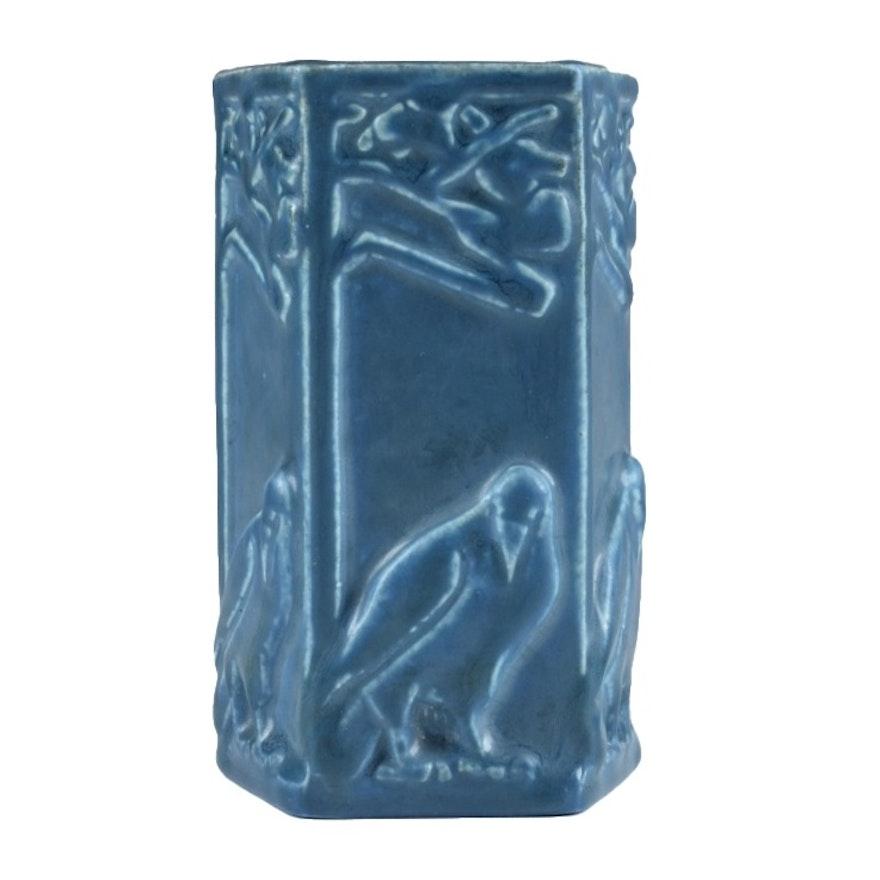 Circa 1926 Rookwood Five Sided Raven Vase in Blue Glaze