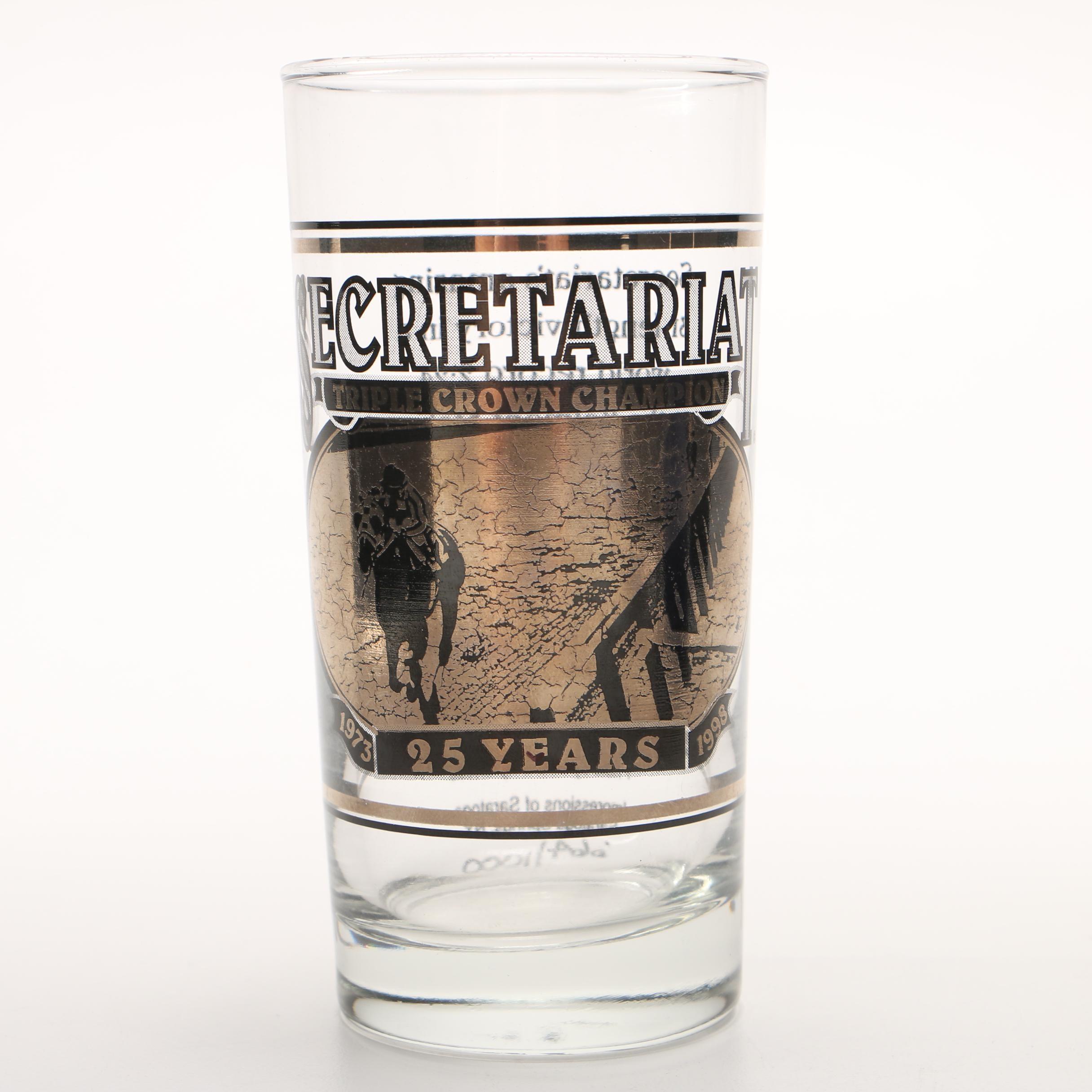 Limited Edition 25th Anniversary Commemorative Secretariat Belmont Stakes Glass