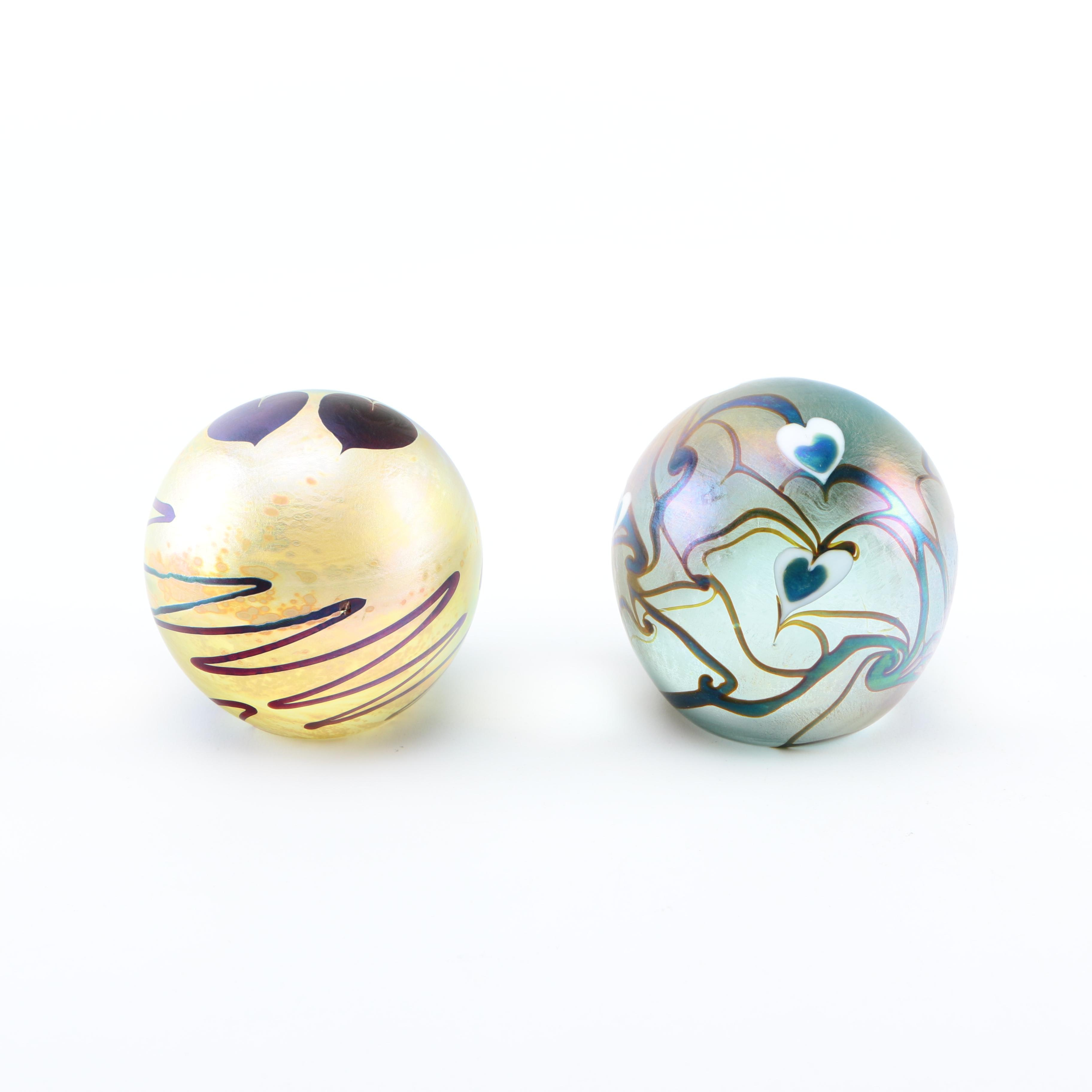 Two Artisan Signed Glass Paperweights including Eickholt and Vandermark