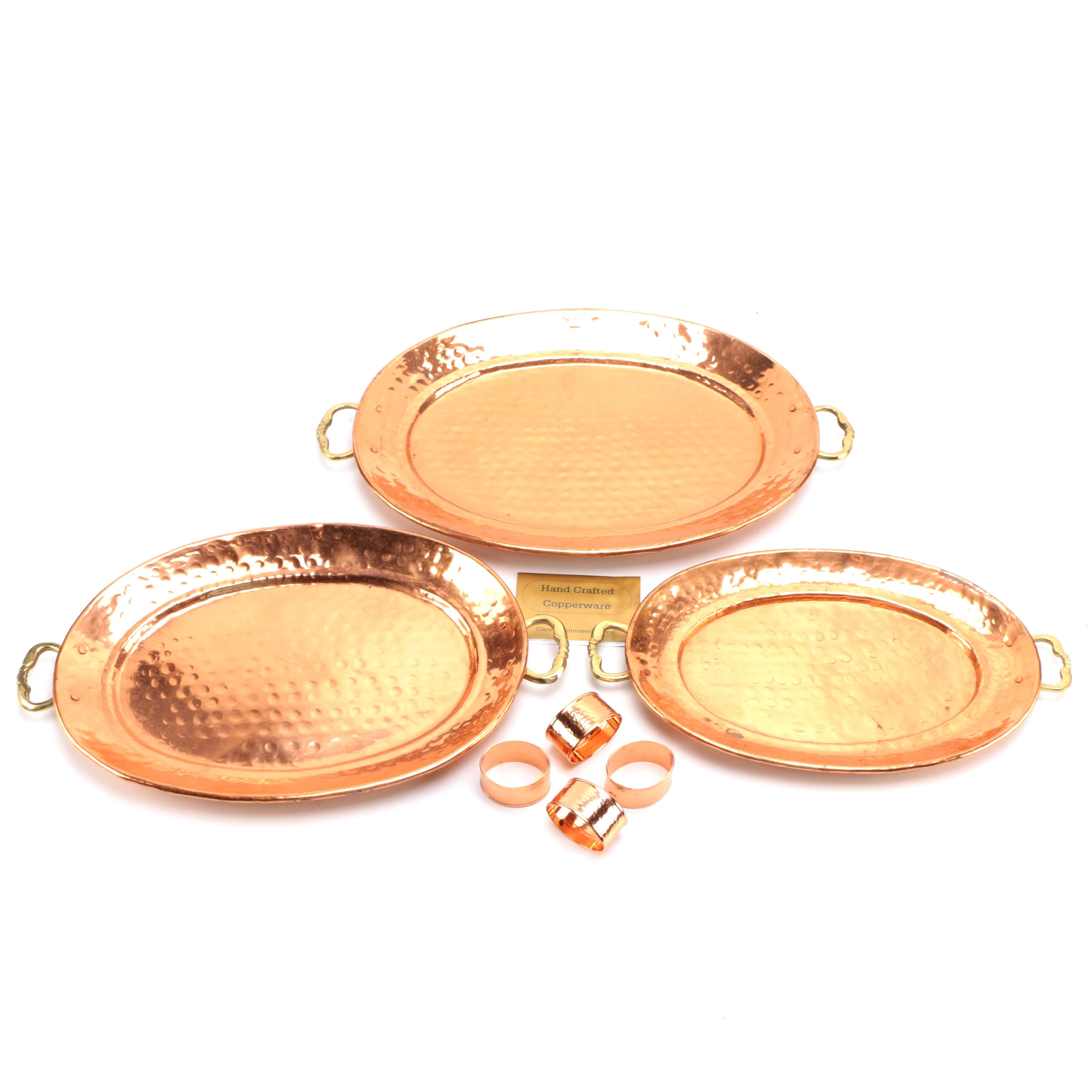 Copper Serving Platters With Napkin Holders