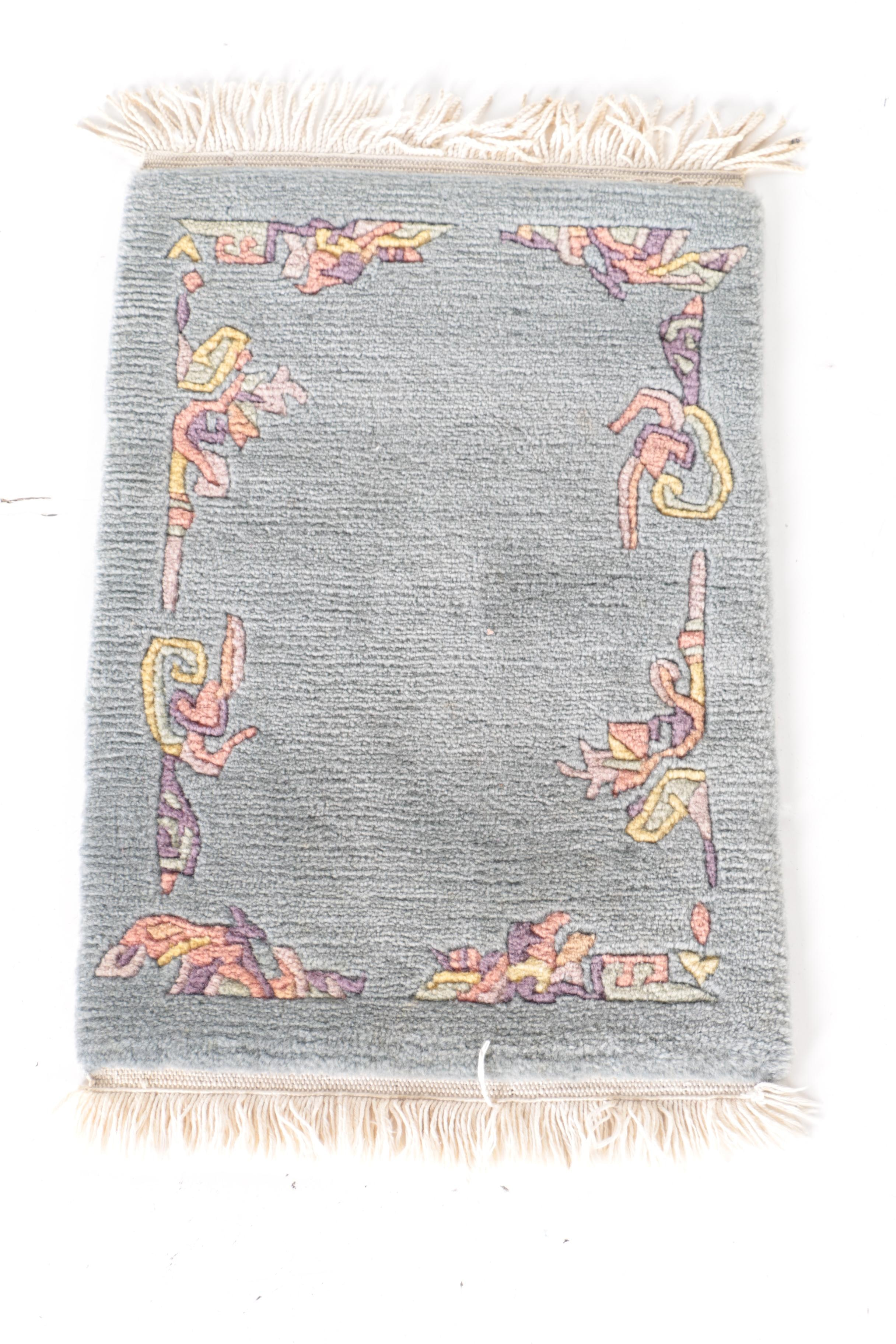 Hand-Knotted Carved Floral Accent Rug