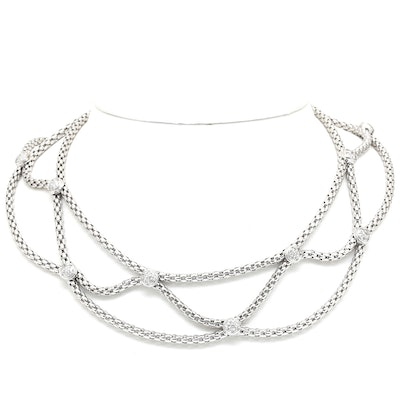 FOPE 18K White Gold Diamond Collar Necklace