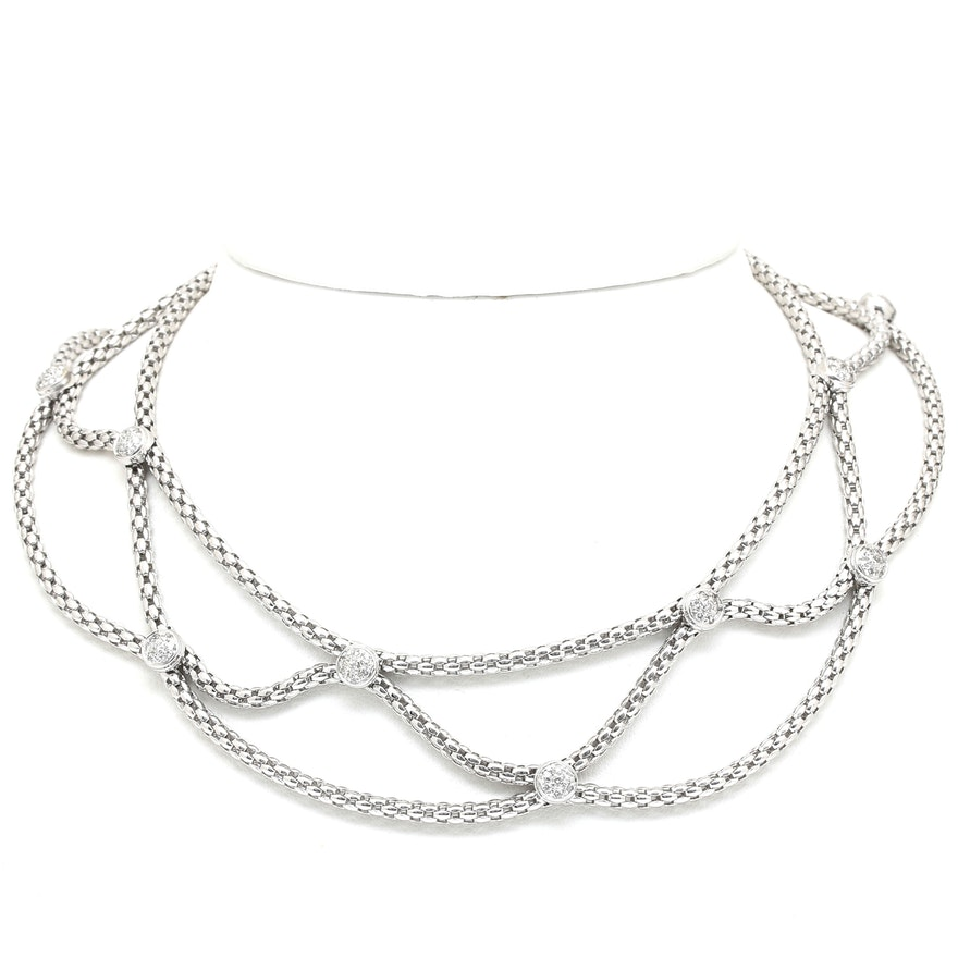 FOPE 18K White Gold Diamond Collar Necklace