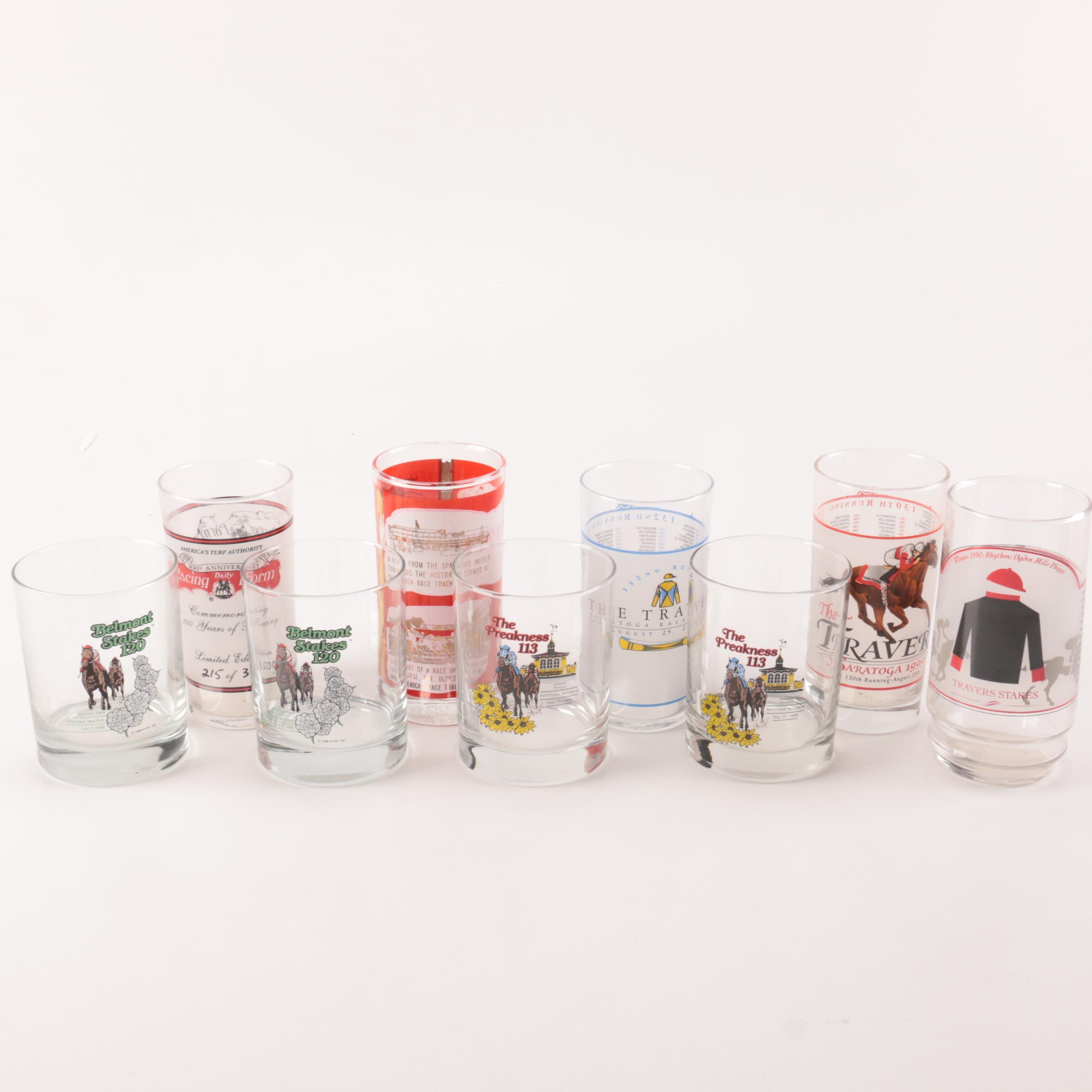 Commemorative Horse Race Glasses Including Daily Racing Form Th