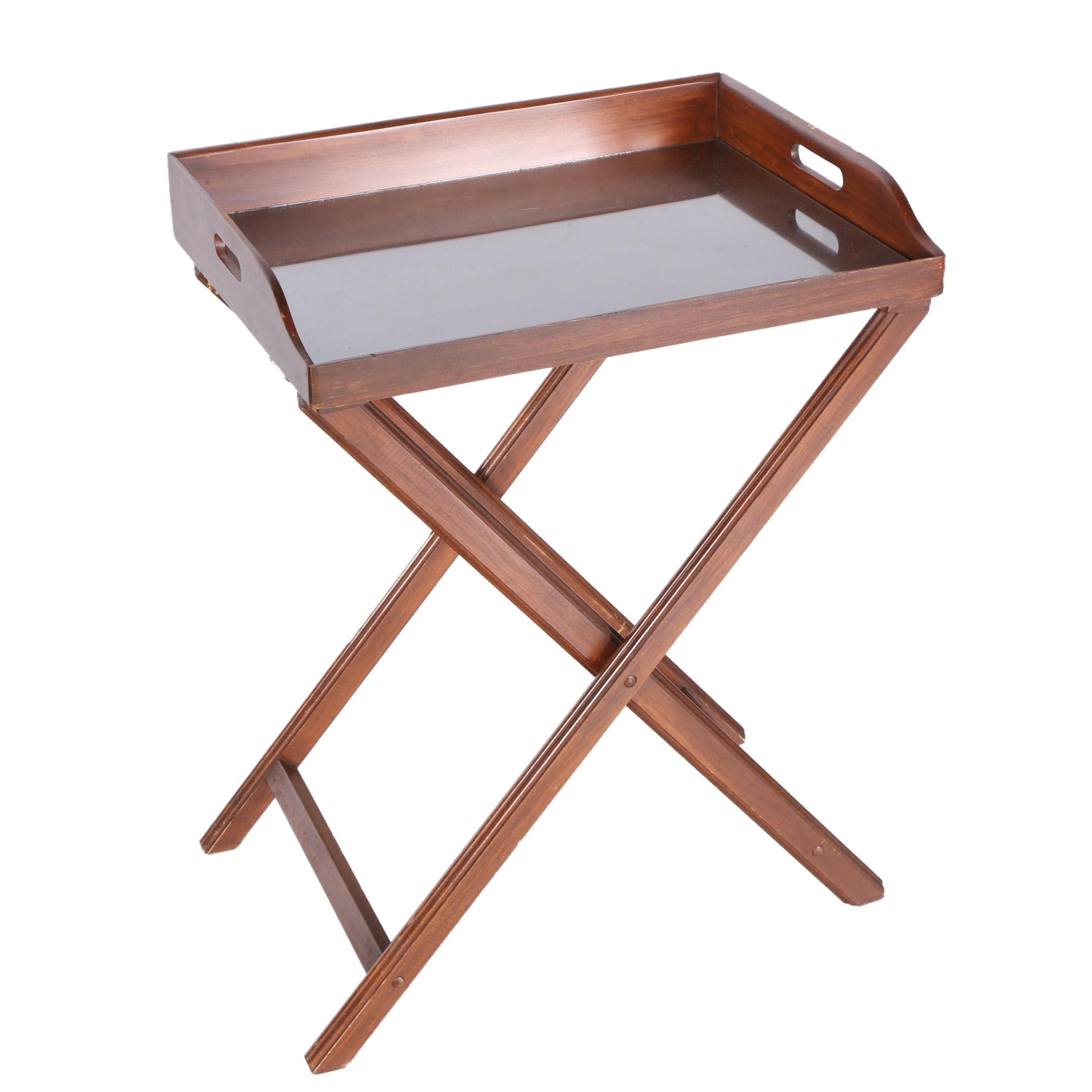 Wooden Serving Tray on Folding Stand