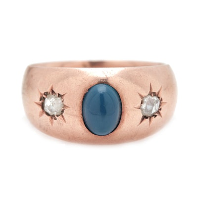 14K Yellow Gold Dyed Chalcedony and Diamond Ring