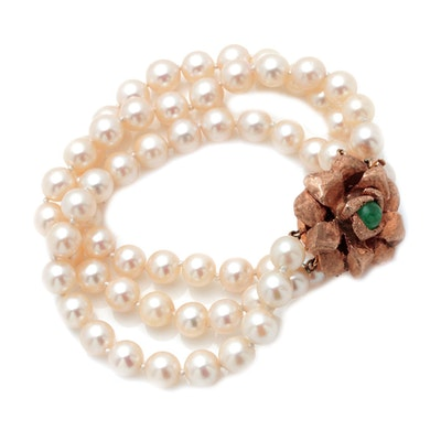 14K Yellow Gold Cultured Pearl and 1.08 CT Emerald Bracelet