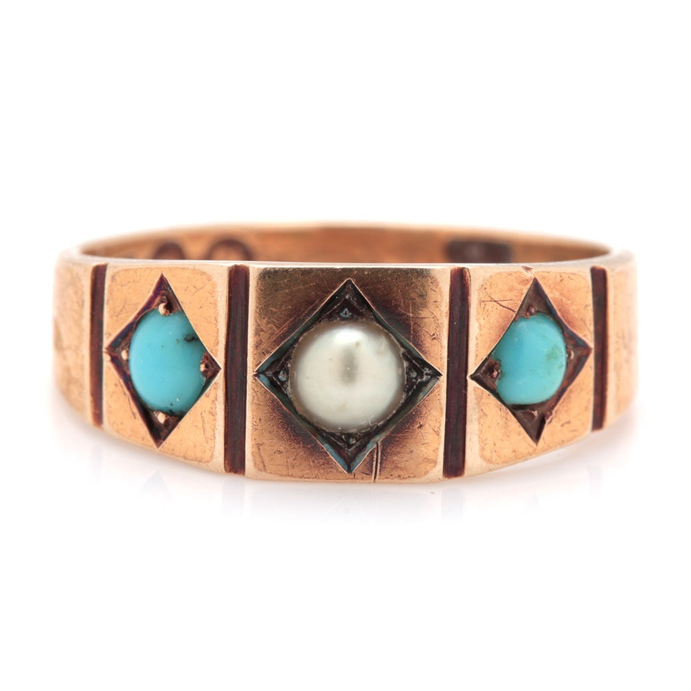 Victorian 15K Yellow Gold Seed Pearl and Turquoise Ring