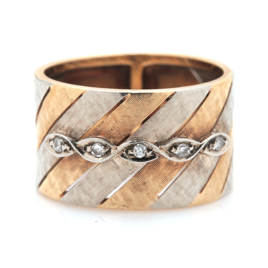 Italian 18K Two Tone Gold Diamond Barrel Ring