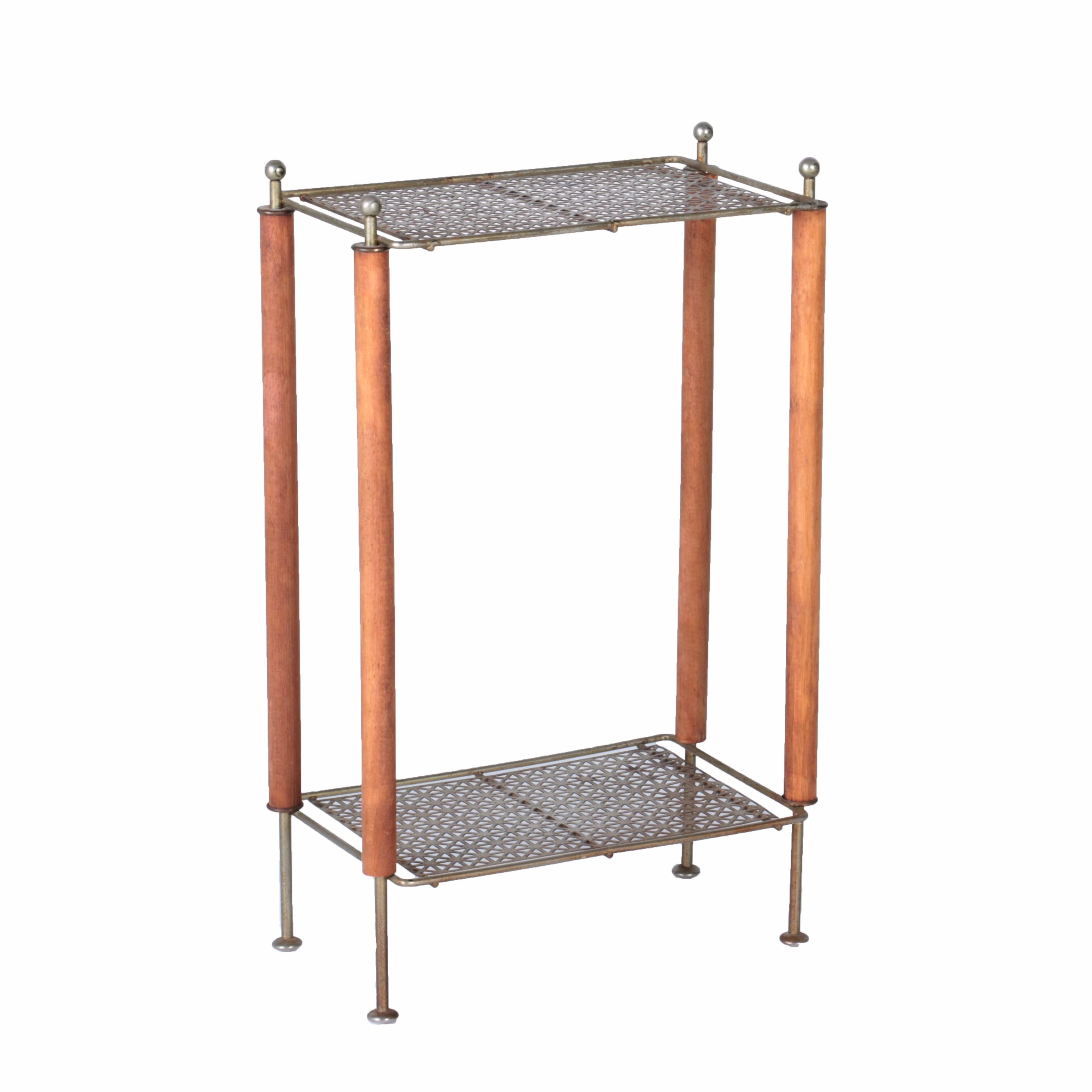 Mid-Century Wood and Metal Plant Stand