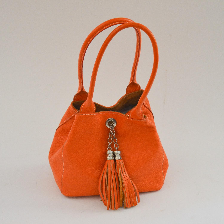 Vintage Italian Orange Leather Handbag