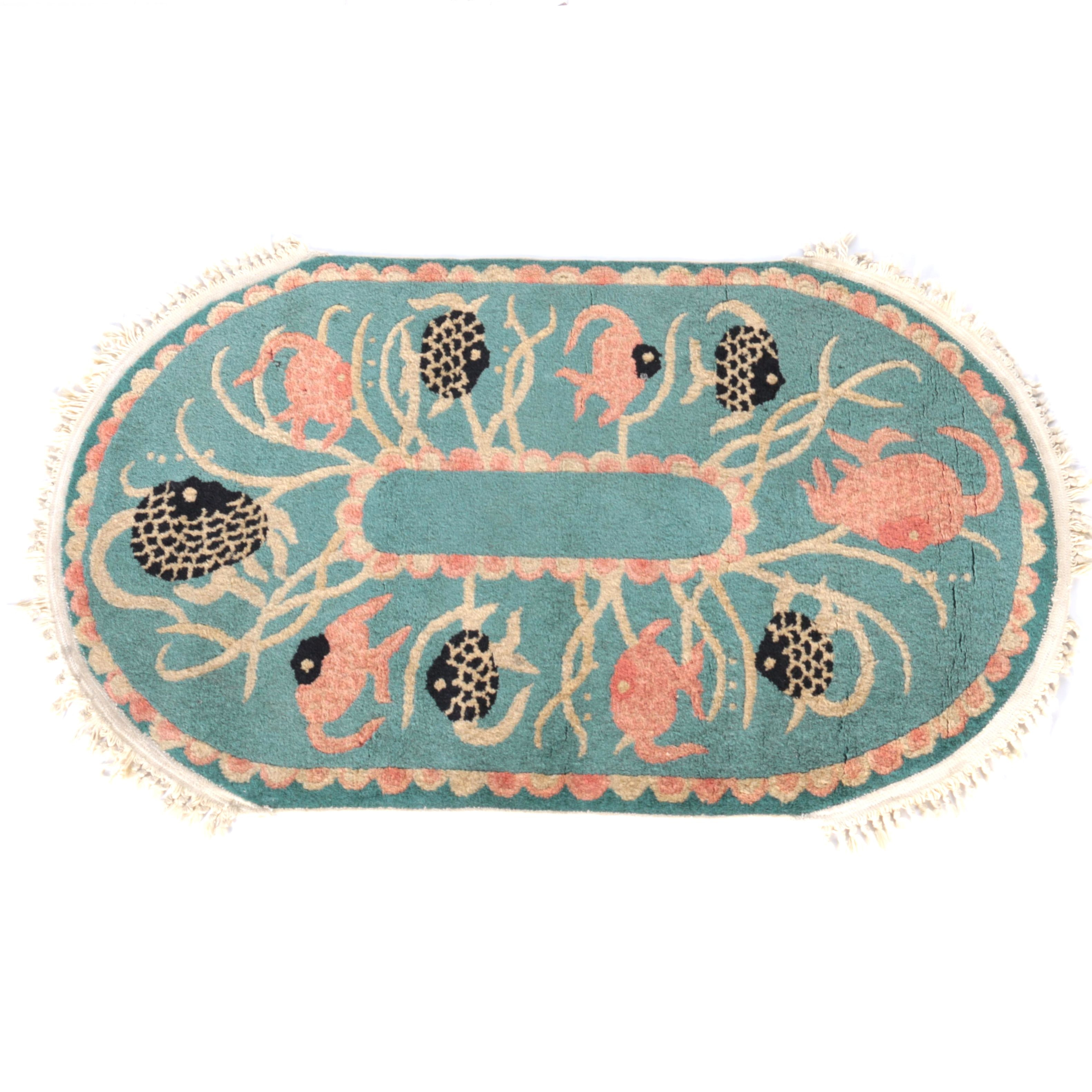 Hand-Knotted Angel Fish Accent Rug