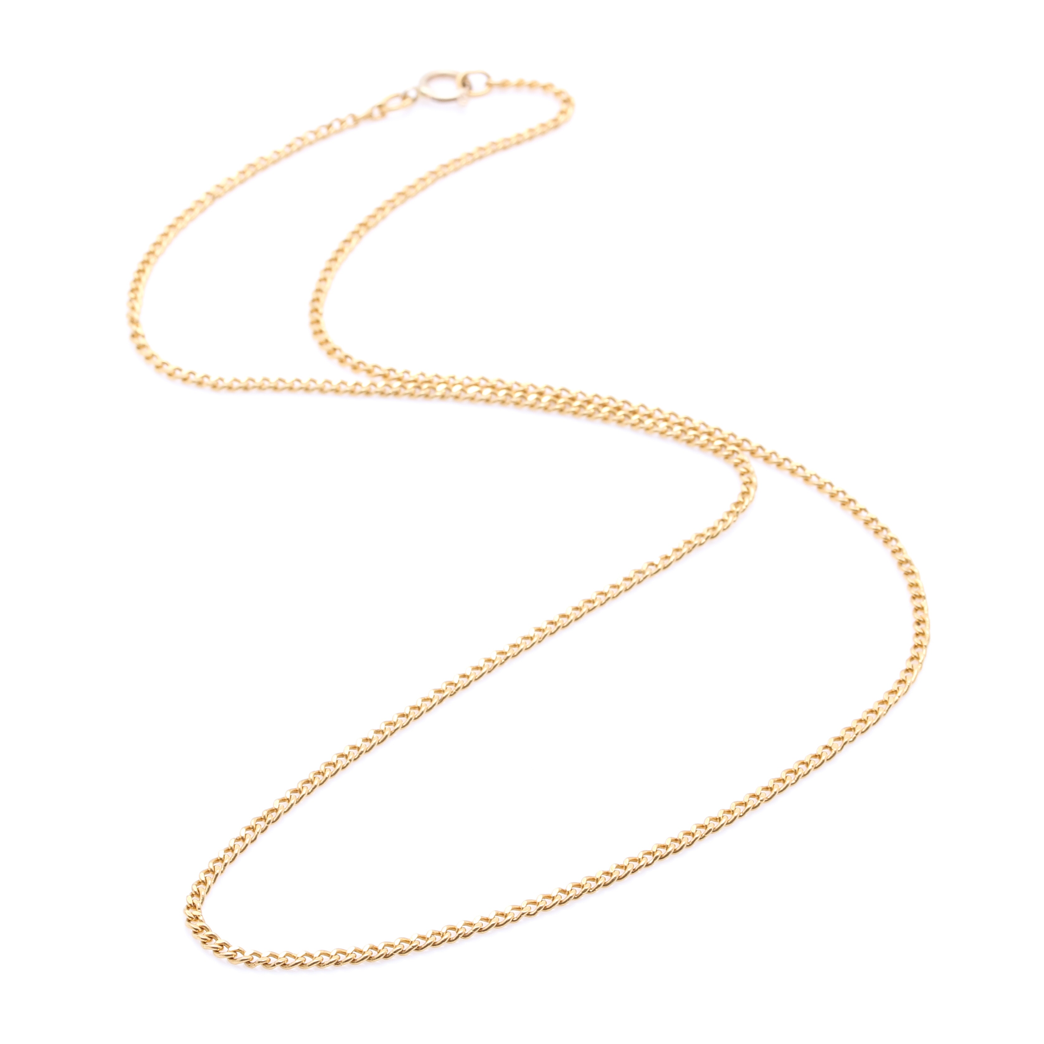 24K Yellow Gold Curb Chain Necklace