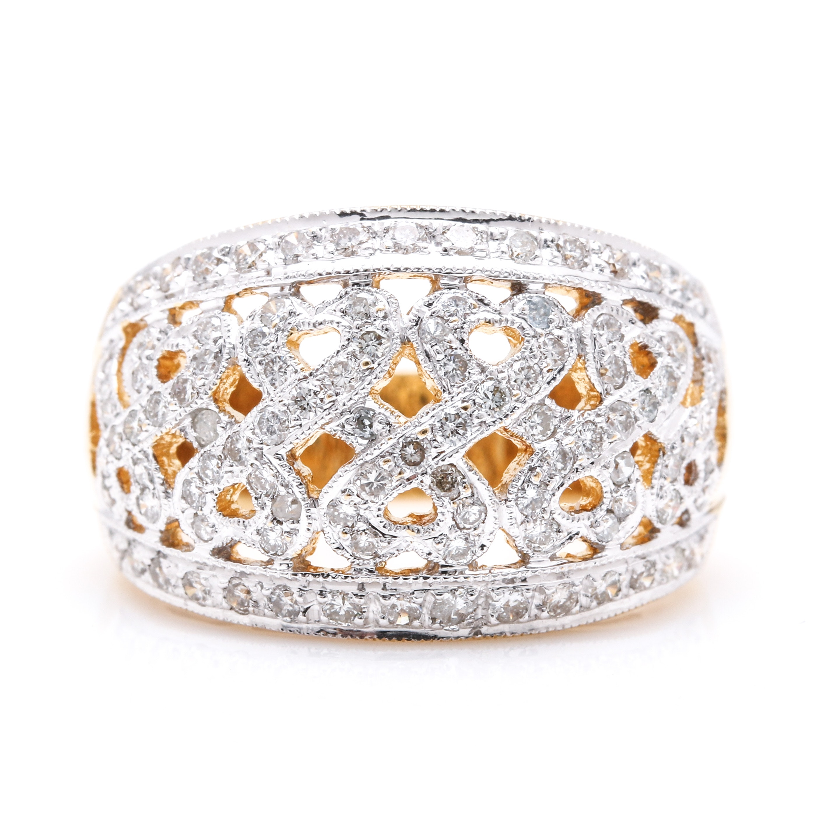 18K Yellow Gold Diamond Domed Ring