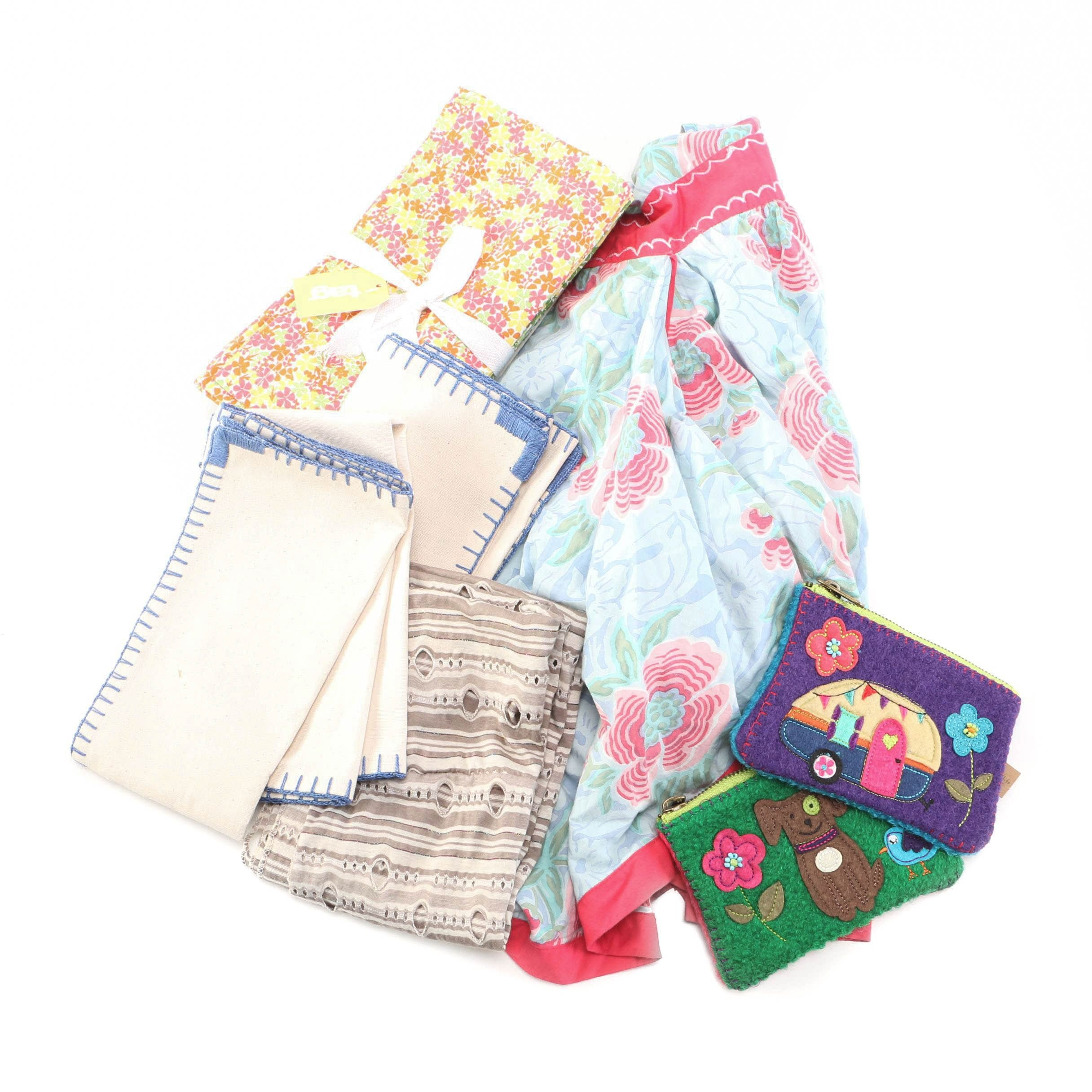 Assorted Cloth Napkins, Coin Purses and Apron