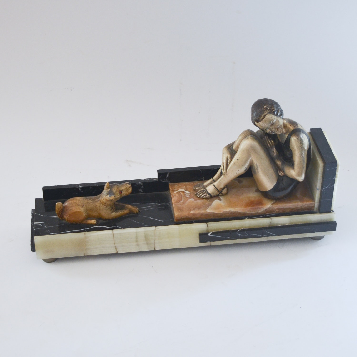 Art Deco Style Metal and Stone Sculpture of Child and Dog