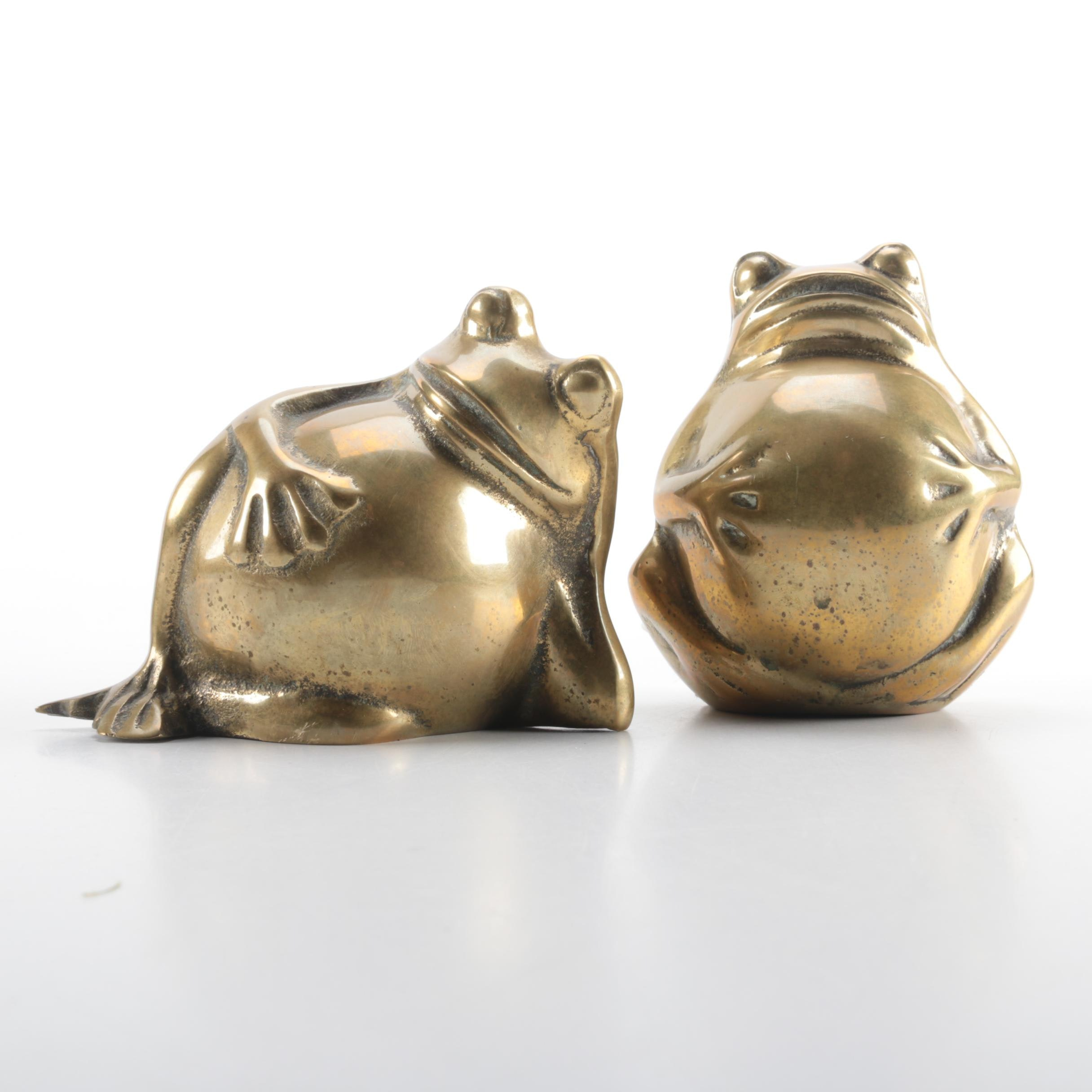 Pair of Brass Frogs